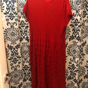 Red Knitted Crochet Sweater Dress